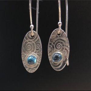 Blue topaz cabachon earrings, sterling silver